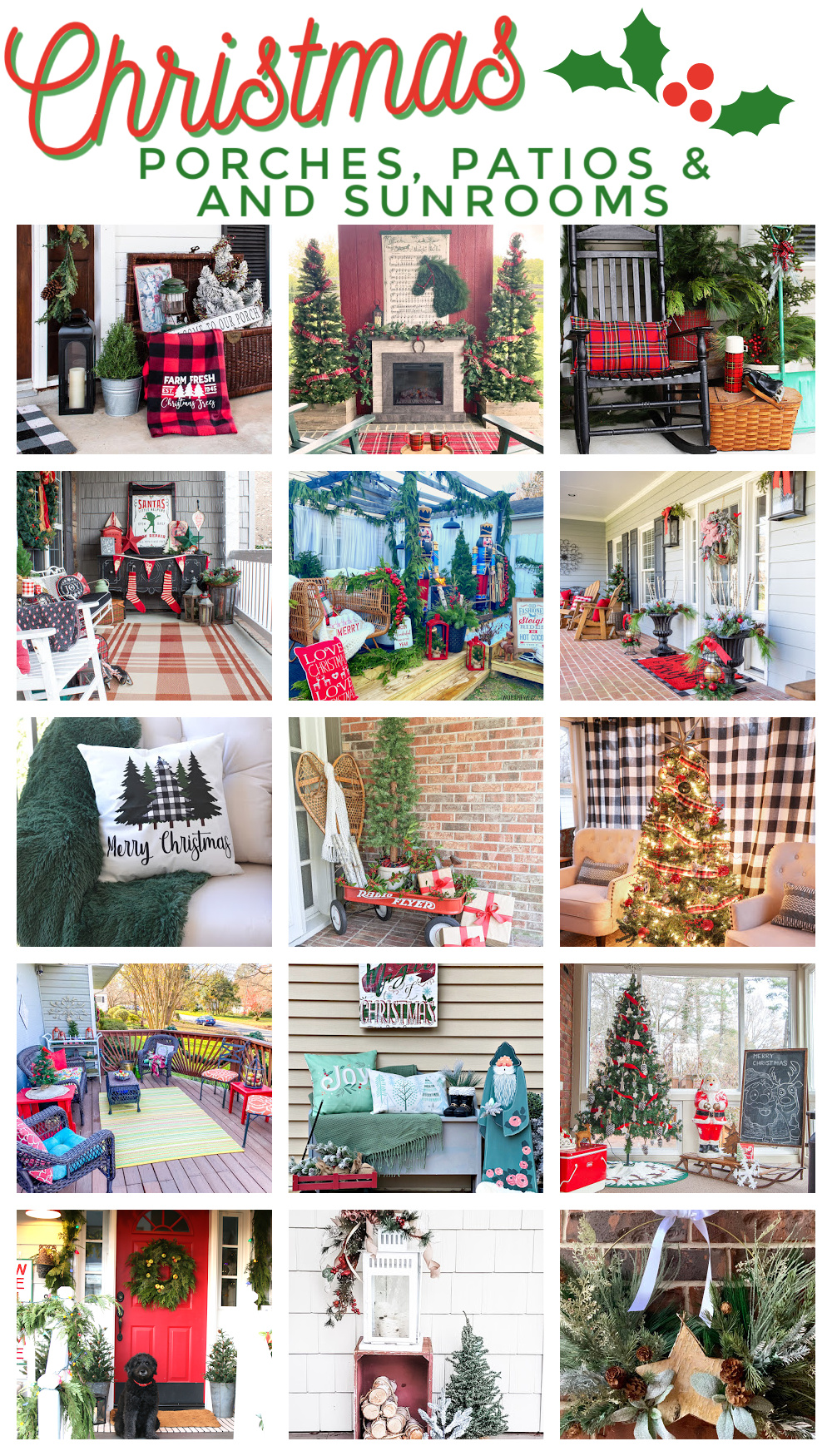 15 Porches Decorated for Christmas