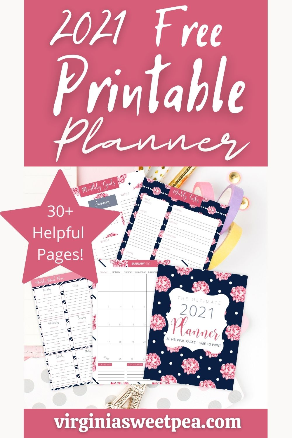 This free 2021 printable planner is the perfect solution to organize and plan each day of the year.  Included are monthly calendars, a daily planner, a weekly task sheet, meal planning pages, and a grocery sheet.  Use the pages individually or print them all and use in a notebook. via @spaula