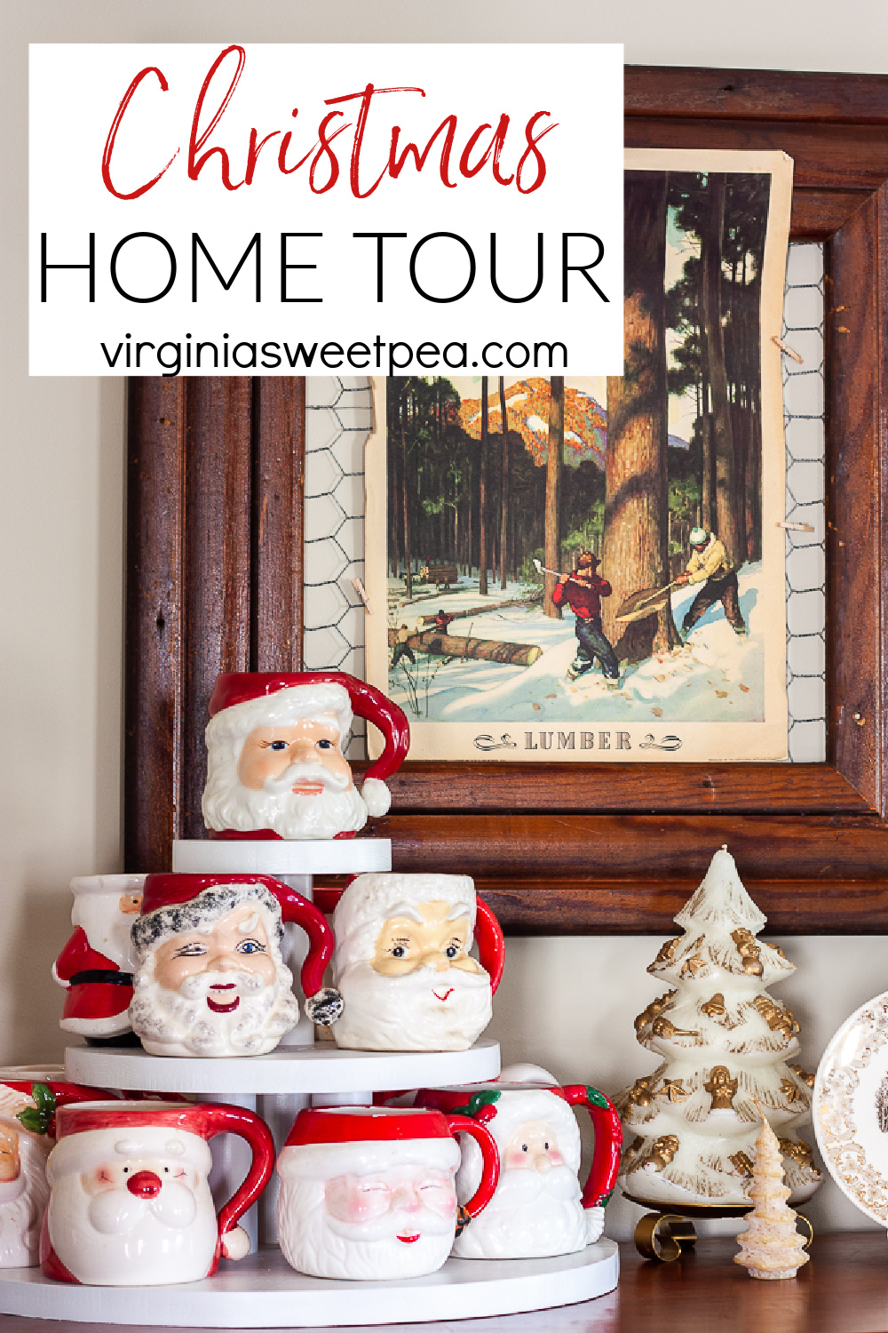 If you like vintage Christmas decor, you'll love touring this home decorated for Christmas!  From vintage Santas to vintage candles, you are sure to enjoy seeing this home's Christmas decorations. via @spaula