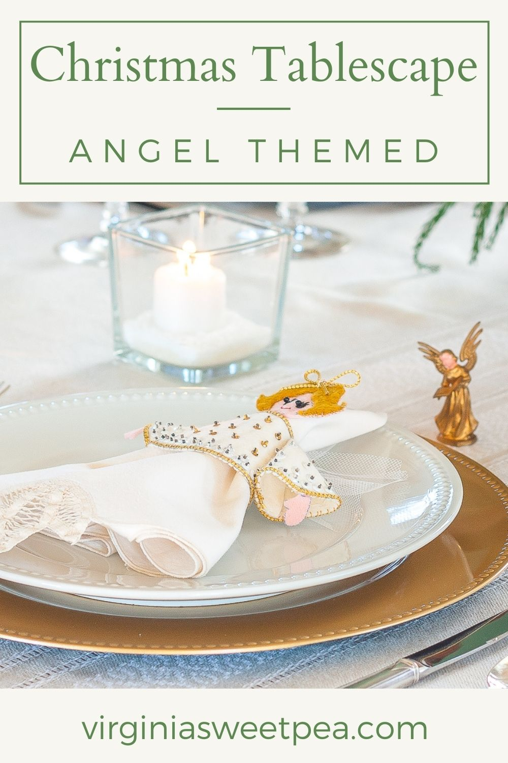 A table is set for Christmas with an angel theme.  Don't miss seeing all of the pretty details! via @spaula