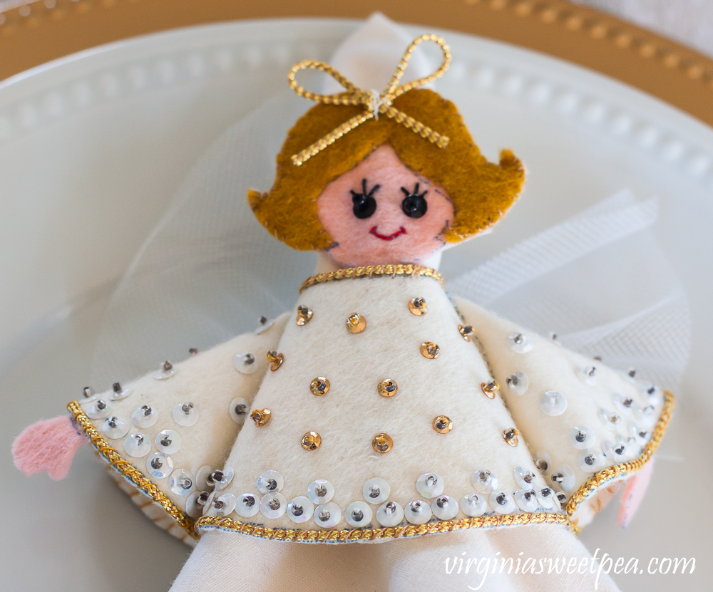 Handmade 1970s felt and sequin angel napkin holder