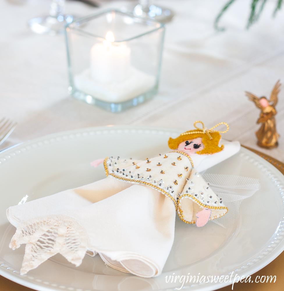 Handmade 1970s felt and sequin angel napkin holder