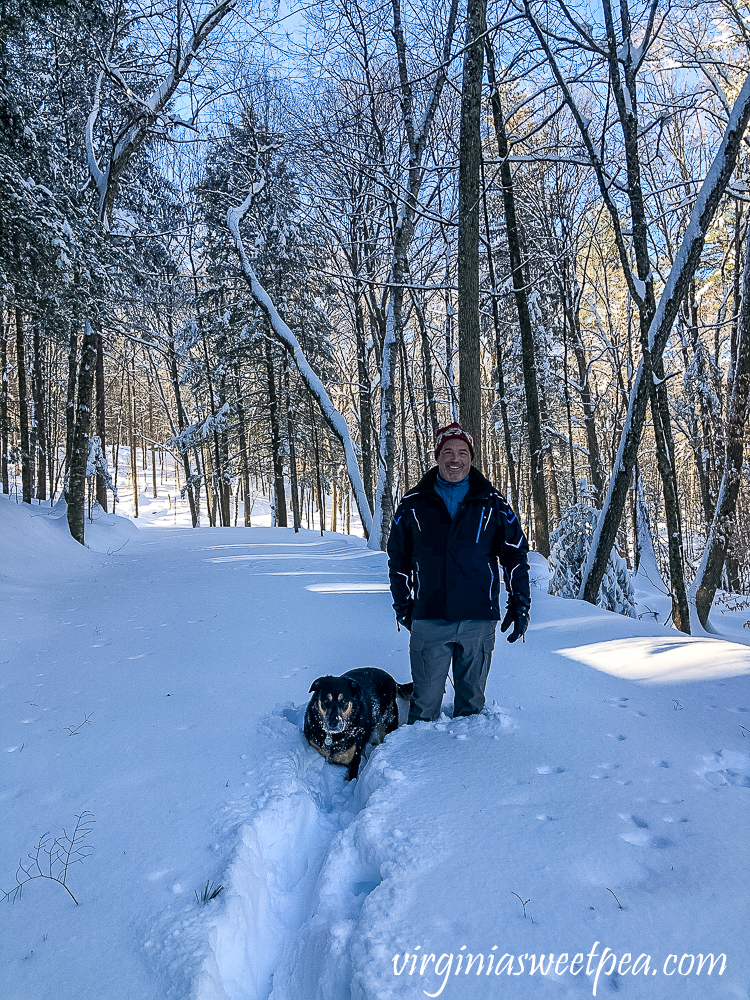Sherman and David Skulina in the December 2020 snow in Woodstock, Vermont