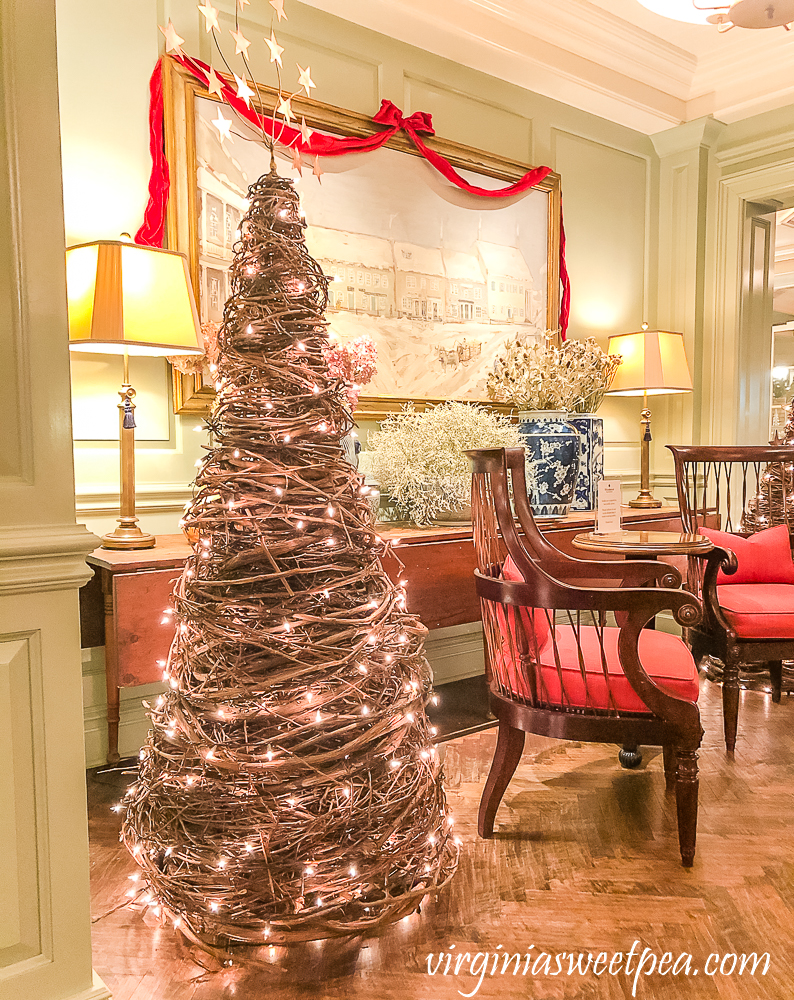 Christmas 2020 decorations in the Woodstock Inn in Woodstock, Vermont