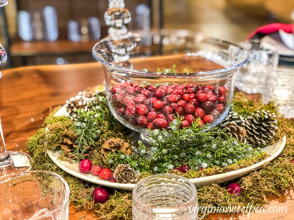 Christmas table centerpiece at Simon Pierce, Quechee, Vermont