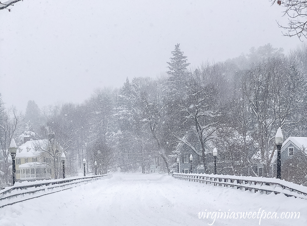 Town of Woodstock, Vermont in the snow