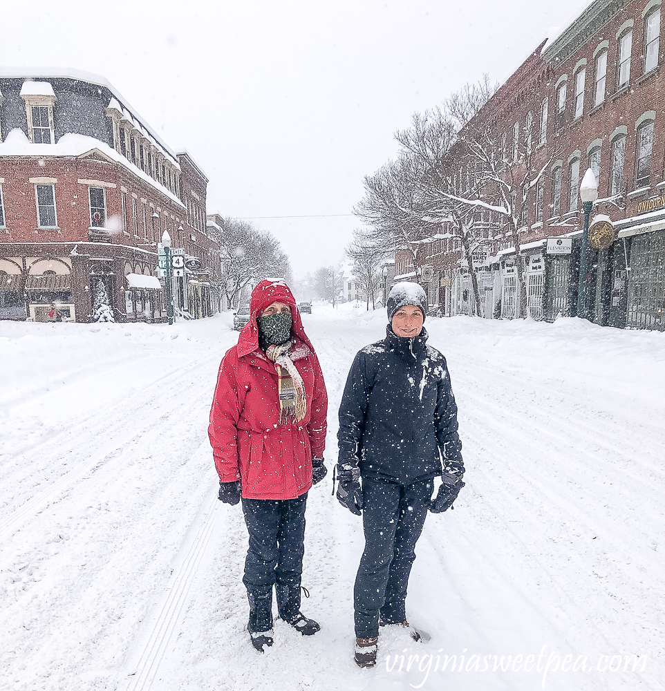 Mama and me in the town of Woodstock, Vermont in the snow