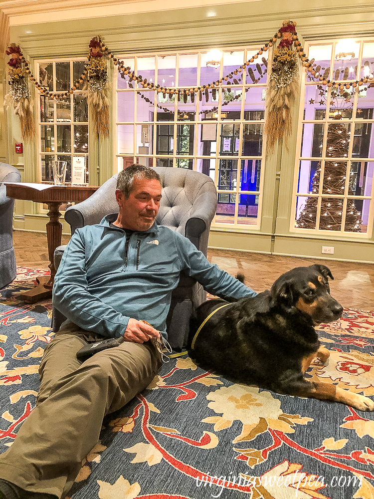 Sherman and David Skulina relaxing in the lobby of the Woodstock Inn in Woodstock, Vermont