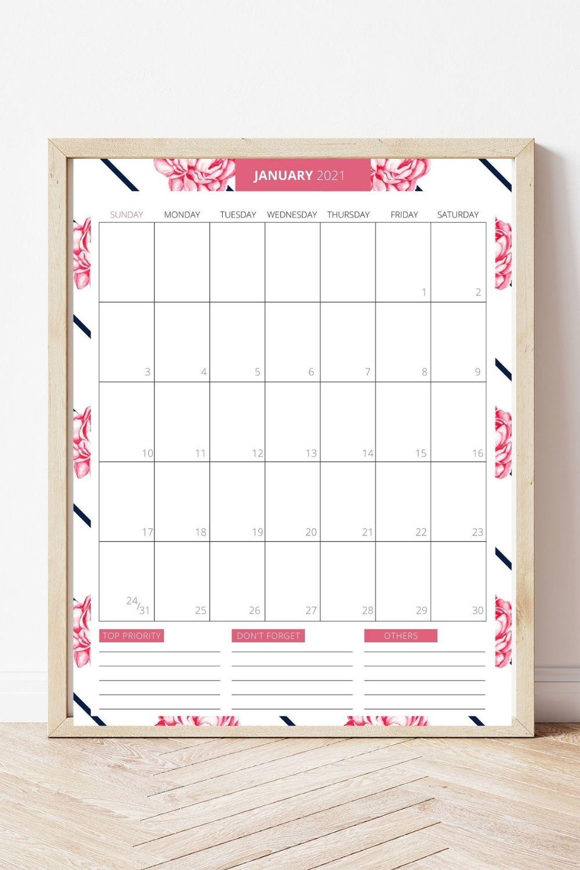 Free Printable 2021 Planner - January 2021 Calendar Page