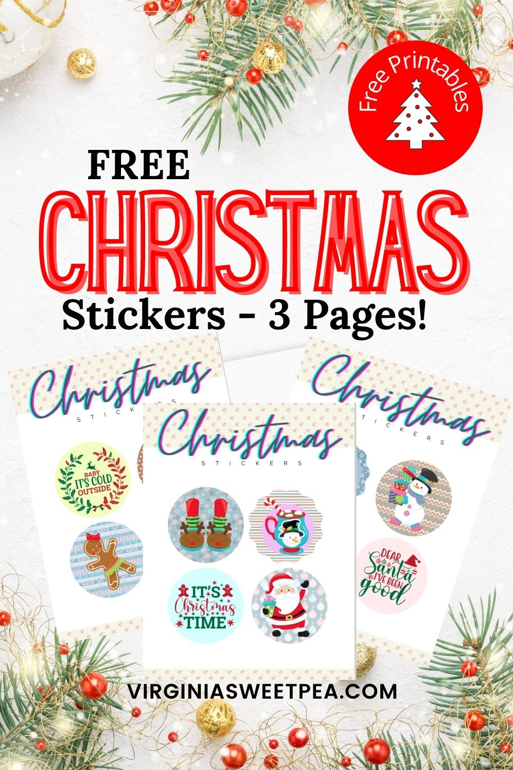 Stickers are a fun way for both kids and adults to enjoy Christmas.  Add a sticker to a gift bag, gift tag or wrapped Christmas gift.  There are 12 designs to enjoy, all free to print. via @spaula