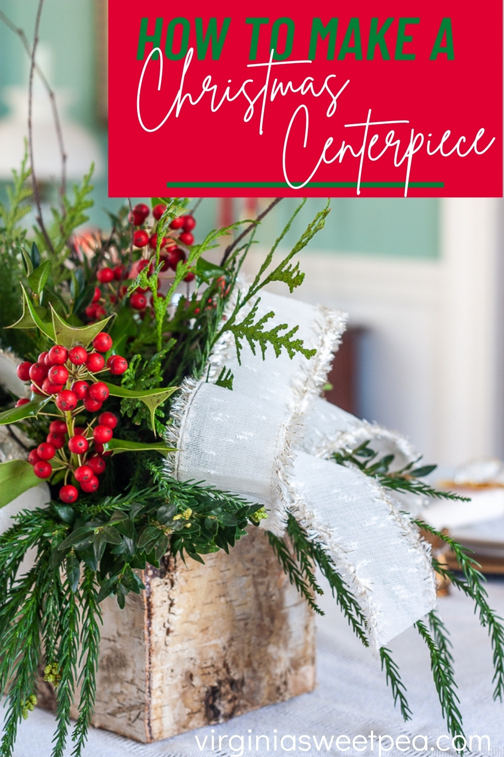 Instead of ordering an expensive centerpiece from a florist, learn how to make your own Christmas centerpiece using this easy to follow tutorial. via @spaula