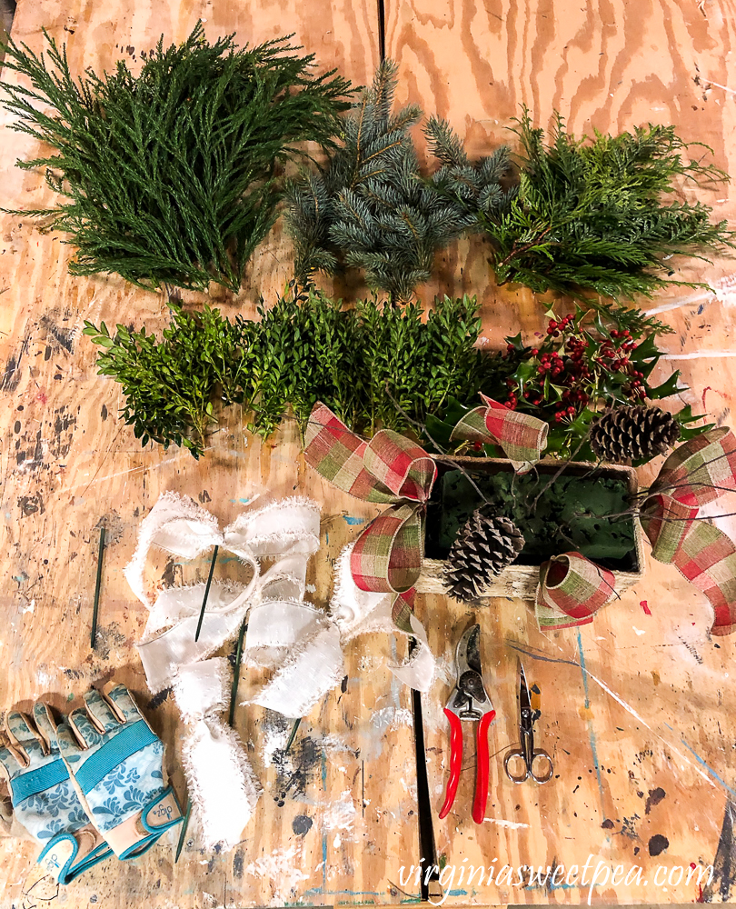 Materials to make a Christmas centerpiece