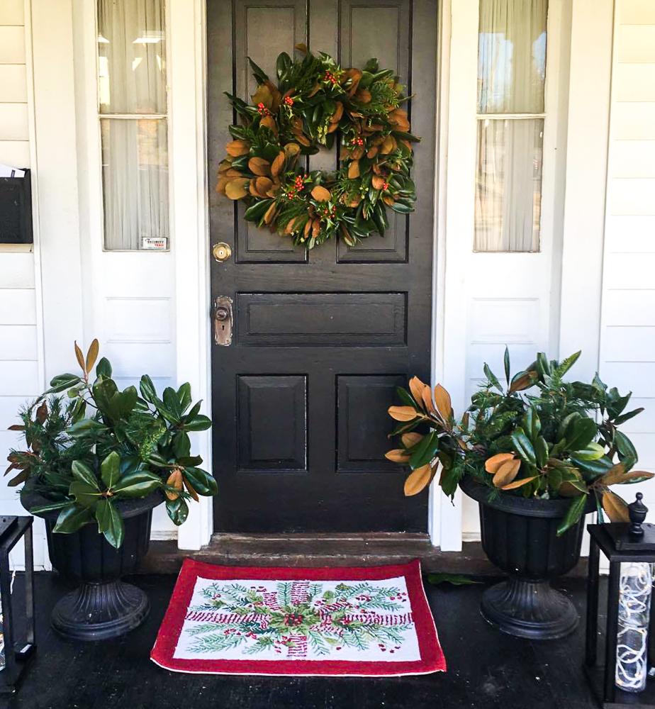 Magnolia Wreath on a black front door