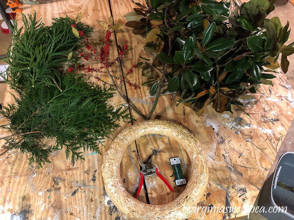 Supplies to make a Chrismas Magnolia wreath
