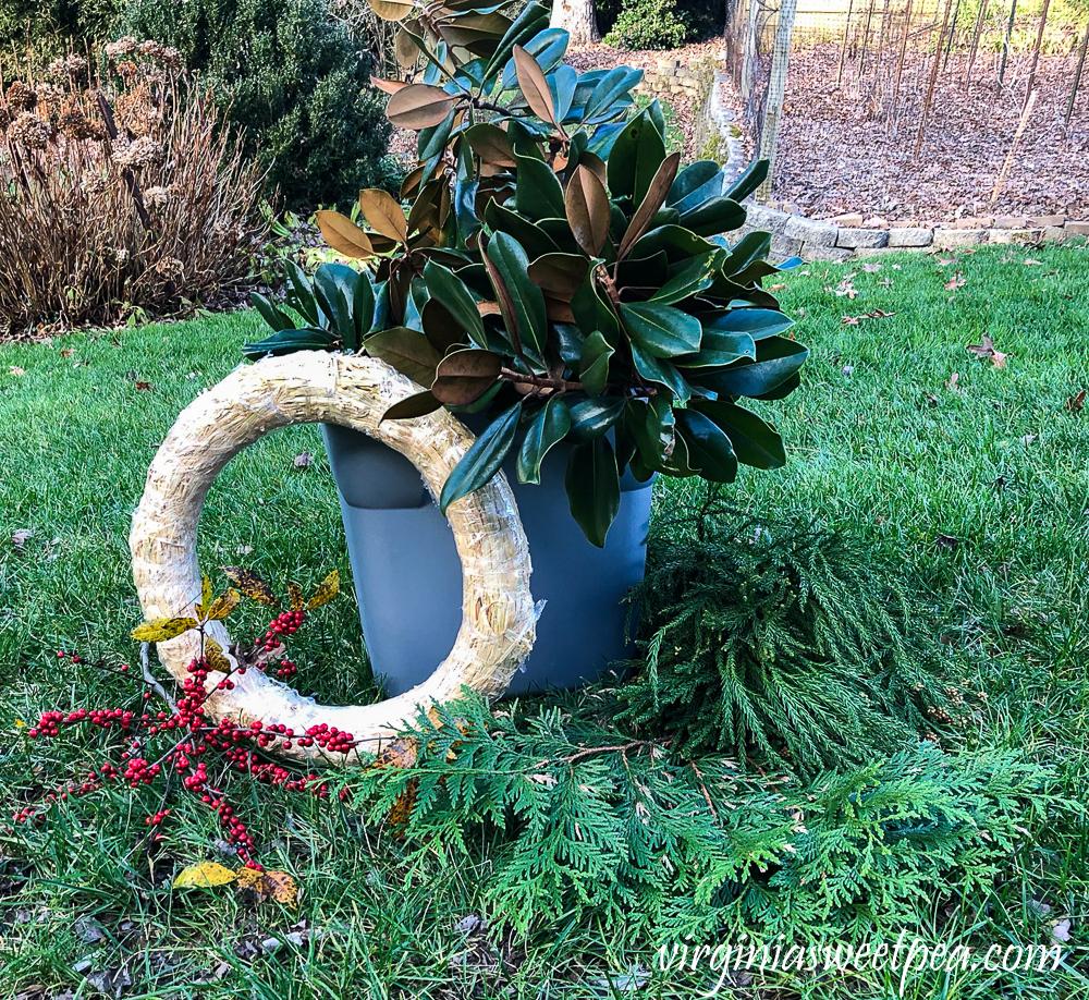 Supplies to make a Magnolia wreath for Christmas