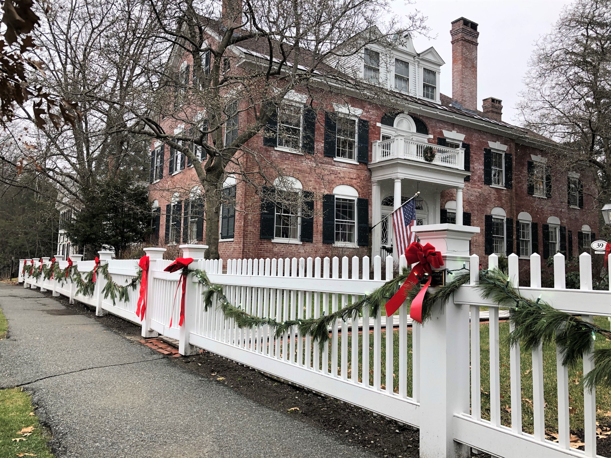 Christmas decorations in the town of Woodstock, Vermont