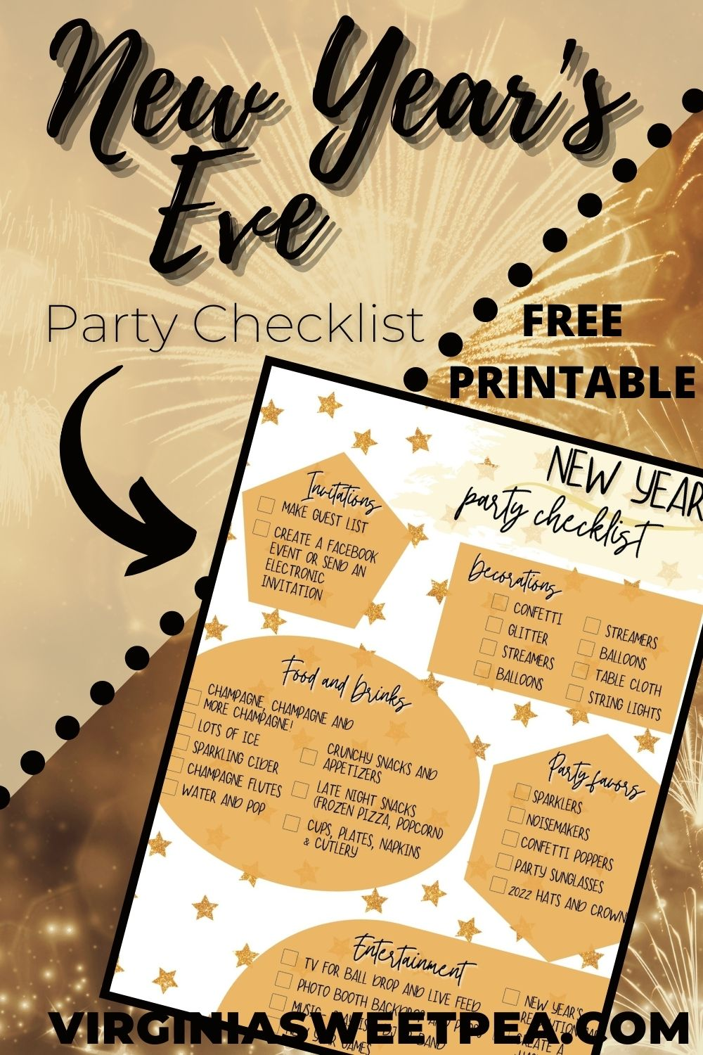 Use this free printable checklist to plan the ultimate New Year's party for family and friends. via @spaula