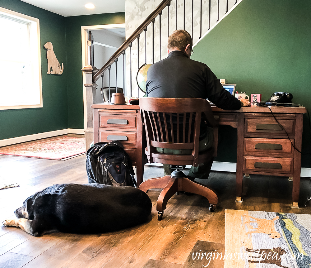 Man working at a vintage office desk with a dog on the floor beside him
