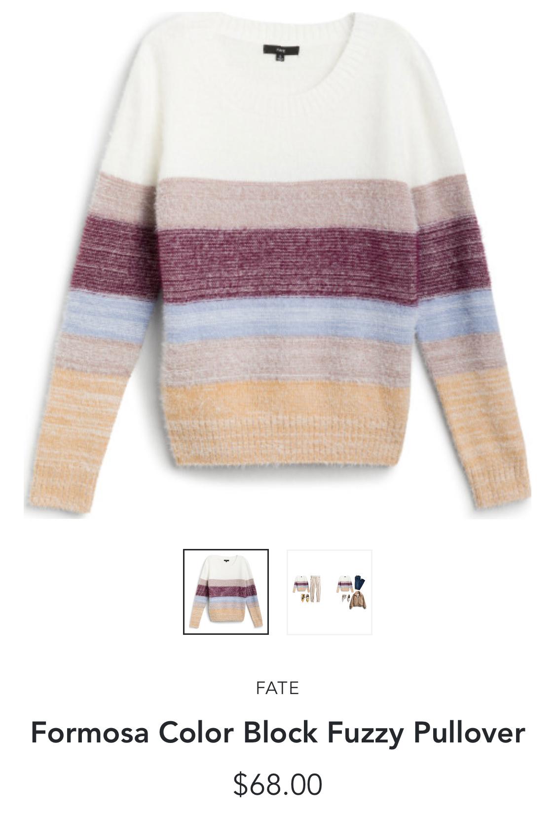 Stitch Fix Fate Formosa Color Block Fuzzy Pullover