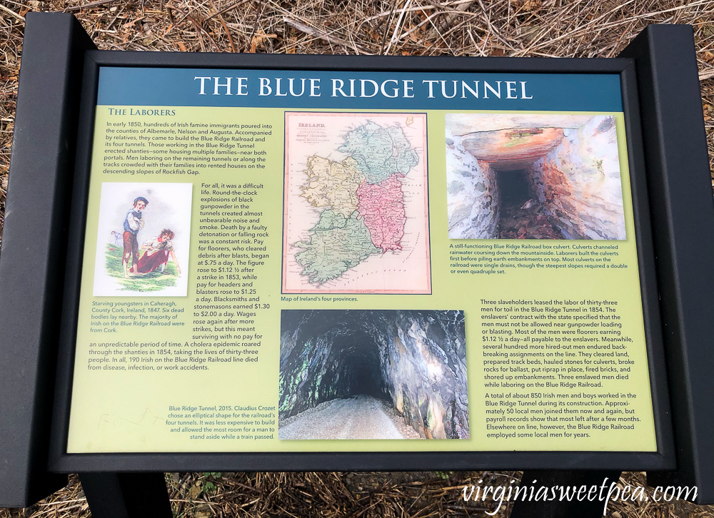 Blue Ridge Tunnel in Afton, Virginia - Information about the laborers who built the tunnel.