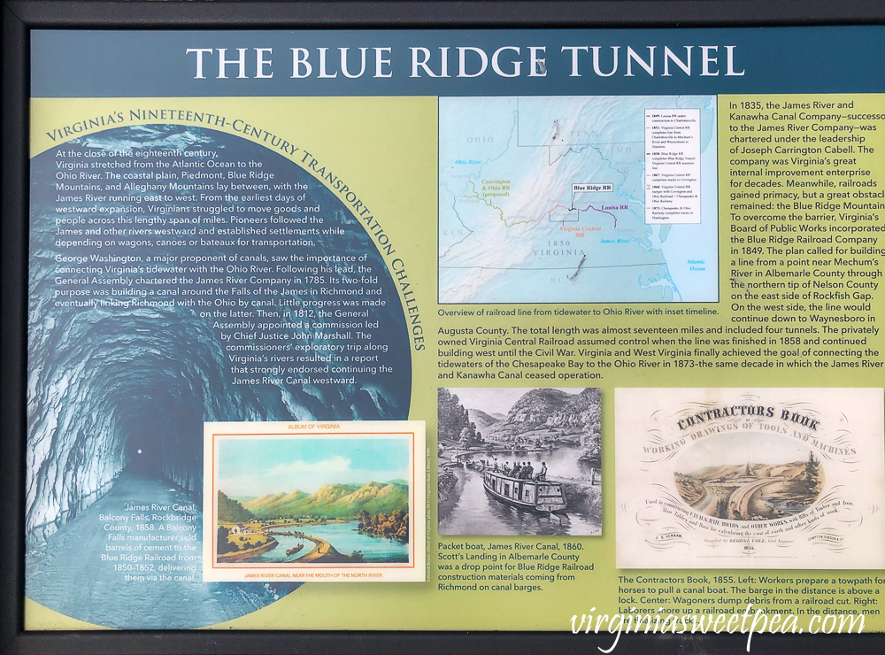 Information sign about the The Blue Ridge Tunnel in Afton, Virginia