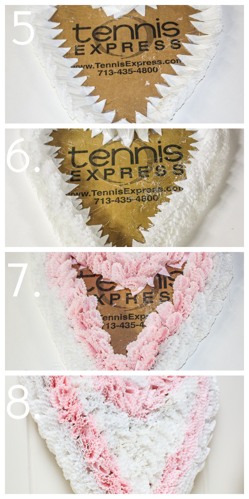 Tutorial to make a Valentine's Day heart with cupcake liners - Steps 5-8
