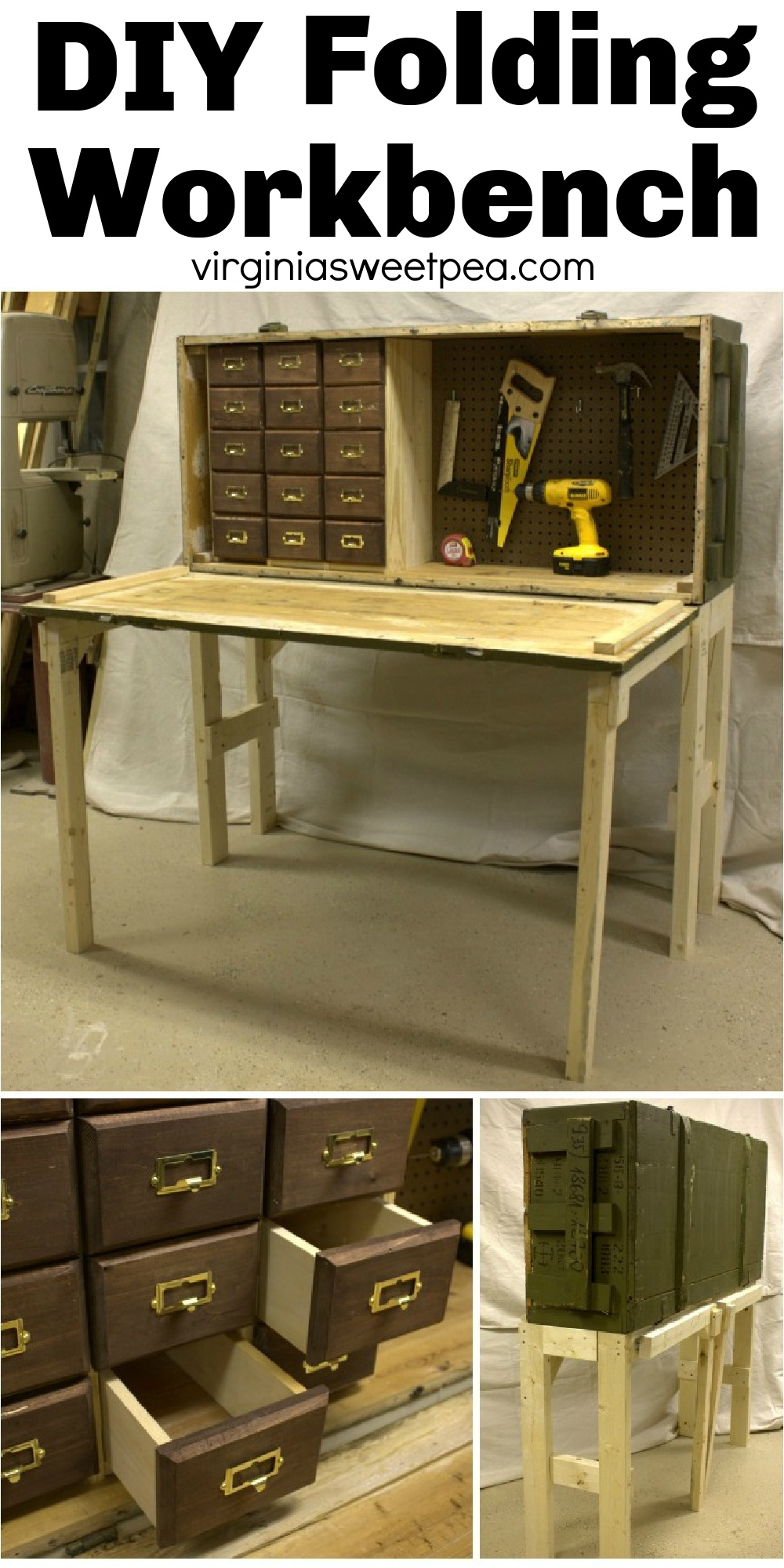 Learn how to make a handy workbench that folds.  This workbench has card catalog style drawers for storage and pegboard for hanging tools.  It gets bonus points for being an upcycled project.  It's made from an upcyled Russian rifle case.  This is a super cool DIY! via @spaula