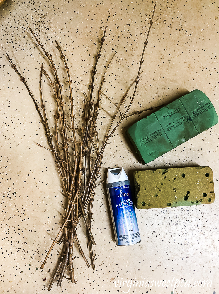 Supplies to make DIY frosted branches