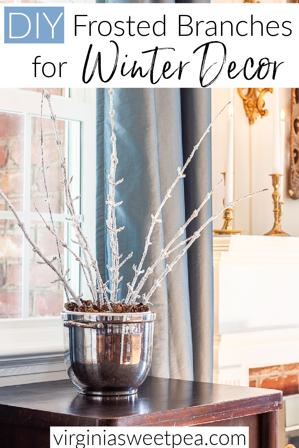 Learn how to use branches from your yard to make frosted branches to use for winter decor.  This simple project is inexpensive and easy to make.  Sparkling, icy branches look great in a vase, used in a wreath, or in a floral arrangement. via @spaula
