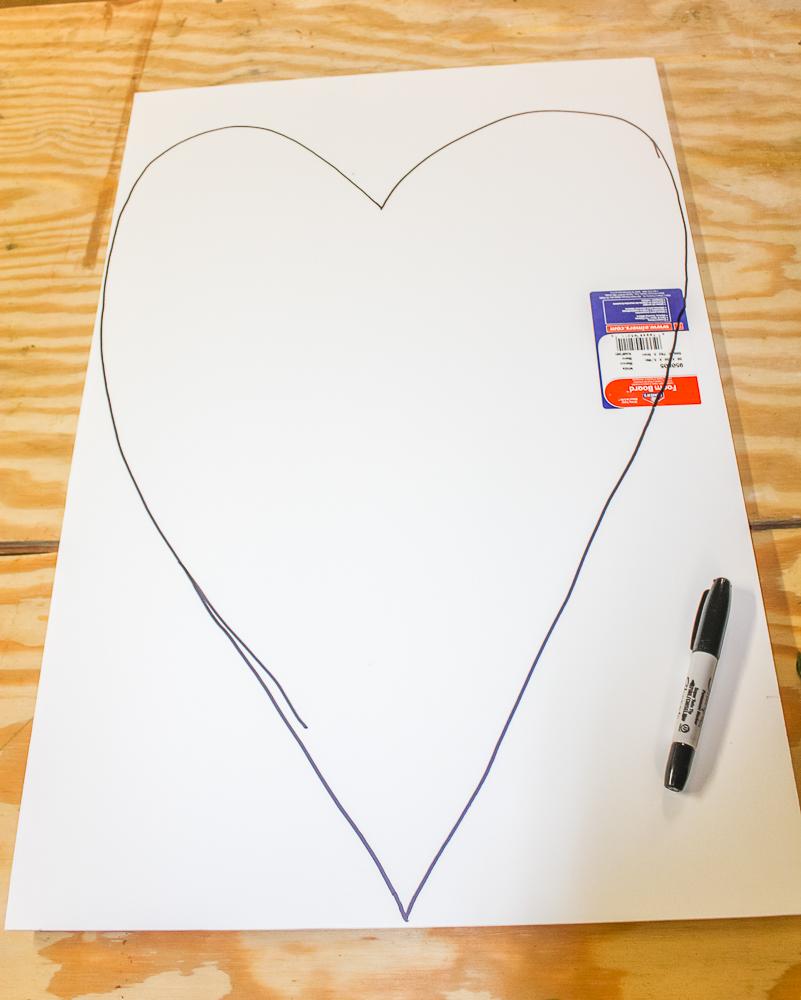 Heart drawn with Sharpie on a foam core board