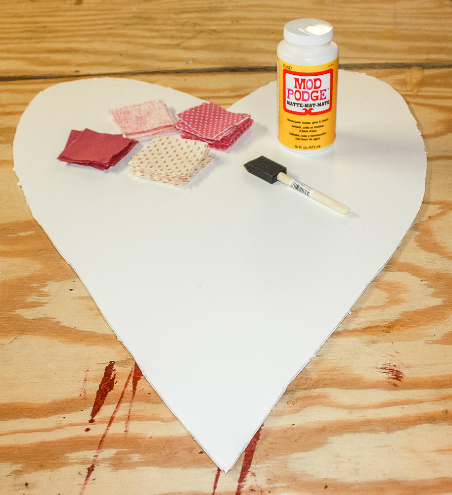 Foam core heart with fabric squares and Mod Podge