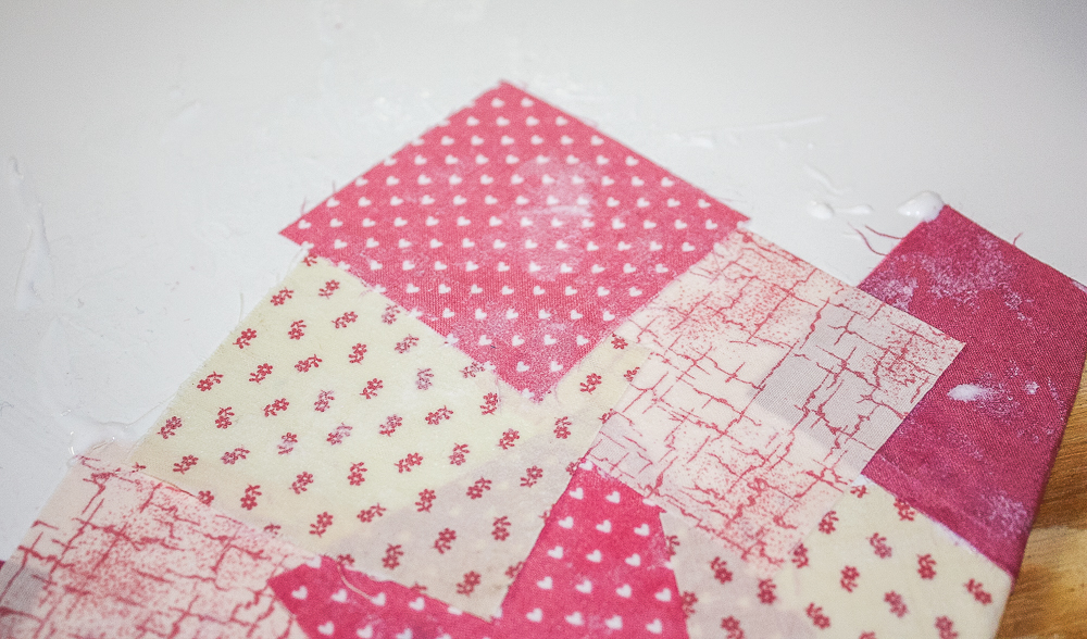 Shades of pink fabric squares