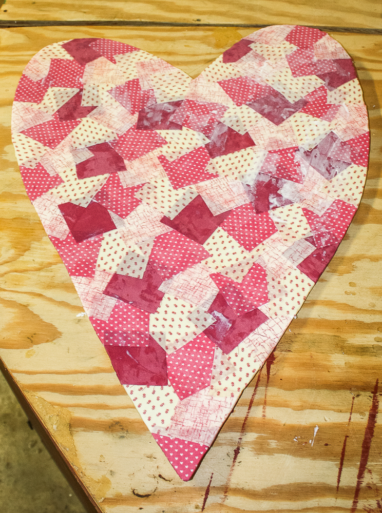 Faux patchwork Valentine's Day heart