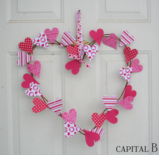Valentine's Day Wreath crafted from wire and scrapbook paper hearts.