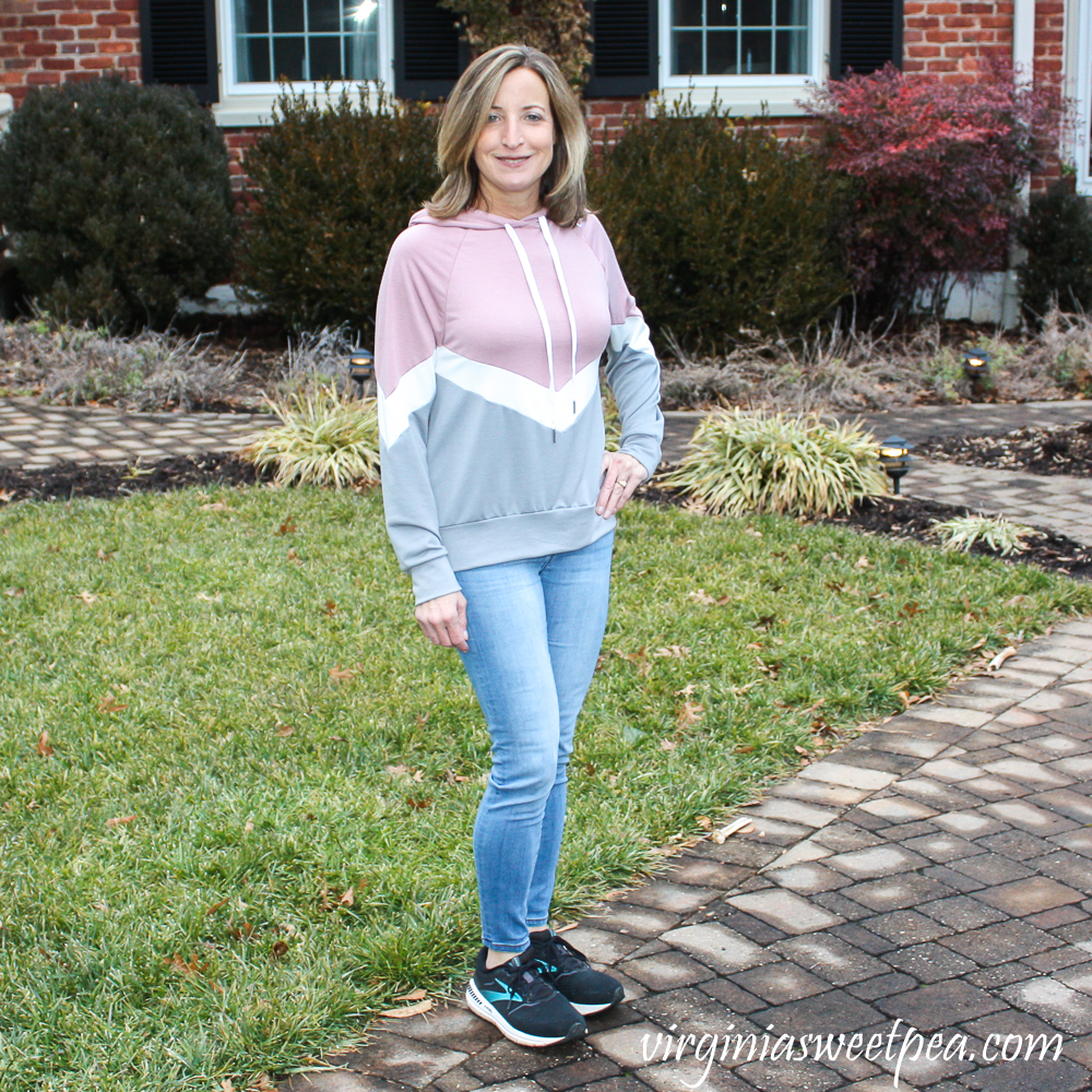 Stitch Fix Kaileigh Olivia Chevron ColorBlock Hooded Knit Top