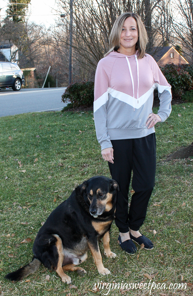 Stitch Fix Kaileigh Olivia Chevron colorBlock Hooded Knit Top and Threads 4 Thought Kiara Eco Tech Performance Jogger