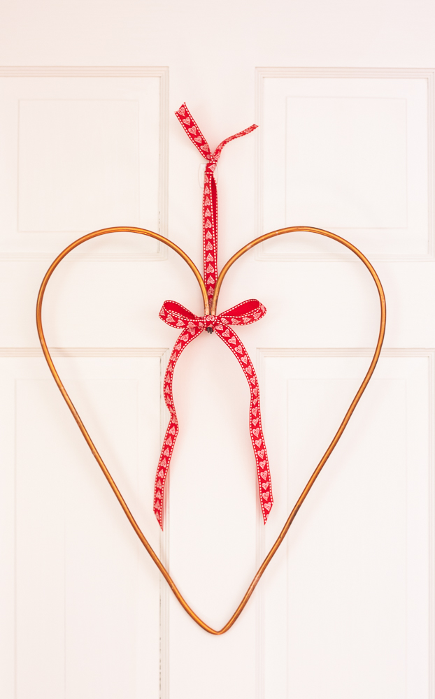 Valentine's Day wreath made from a copper water line from a refrigerator