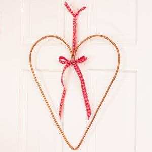 Heart shaped wreath made with copper tubing