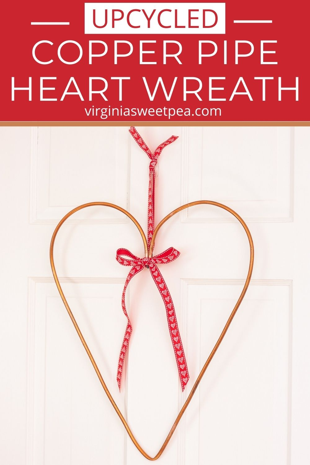 A copper water wine from a refrigerator was used to make this upcycled wreath.  Use similar copper pipe from the hardware store to make a copper pipe heart wreath for your home.  The ribbon can be switched for different seasons.  This unique wreath is perfect to hang on a door, wall, over a mantel, or in a dorm room. via @spaula
