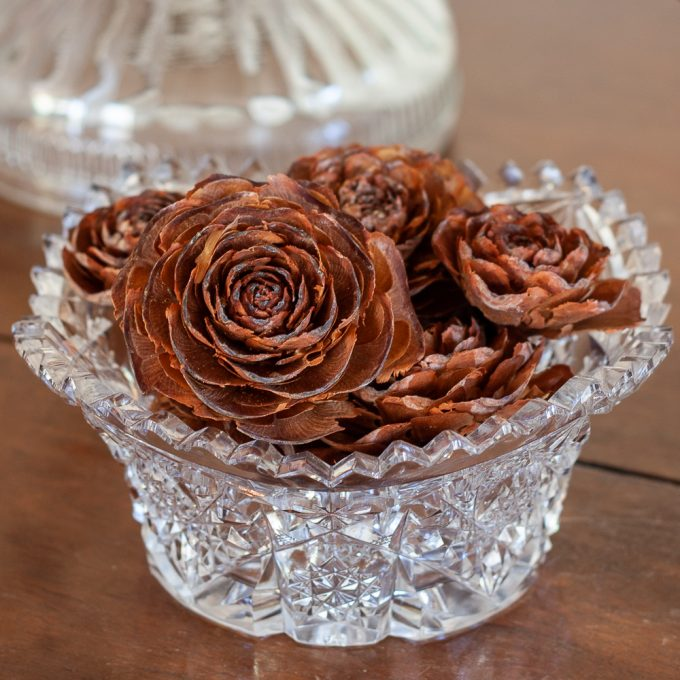 Deodar Cedar cones in a cut glass bowl