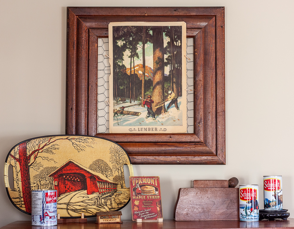 1940 Coca-Cola lumber poster, vintage covered bridge tray, vintage wood tobacco and pipe box, 1970s Schmidt beer cans