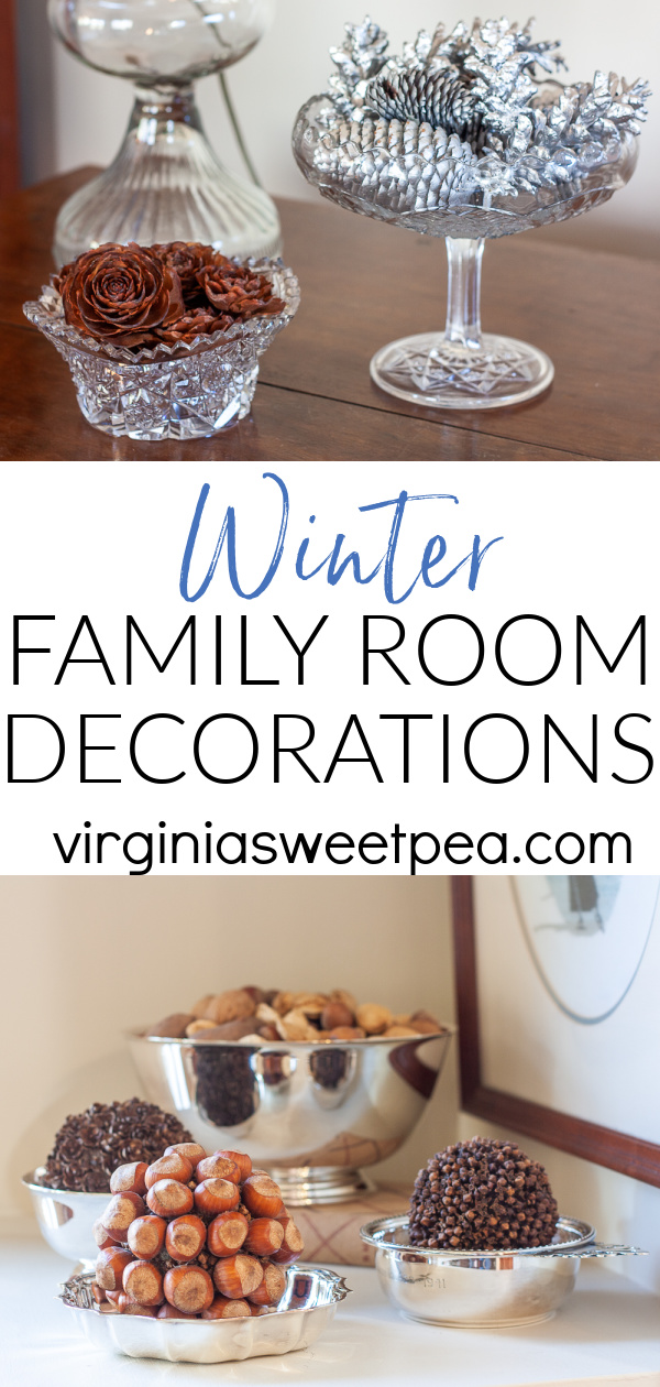Winter is here and it is time to decorate for the season.  To decorate for winter, I used a mix of natural elements, decor pieces in shades of blue, and snow-themed decorations.  Don't miss the ideas in this post to inspire your winter decorating! via @spaula