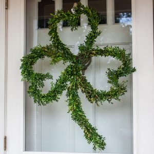 St. Patrick's Day Boxwood wreath shaped like a clover