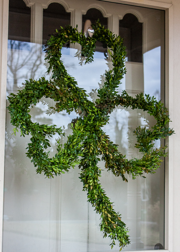 Boxwood Wreath in the shape of a Shamrock for St. Patrick's Day