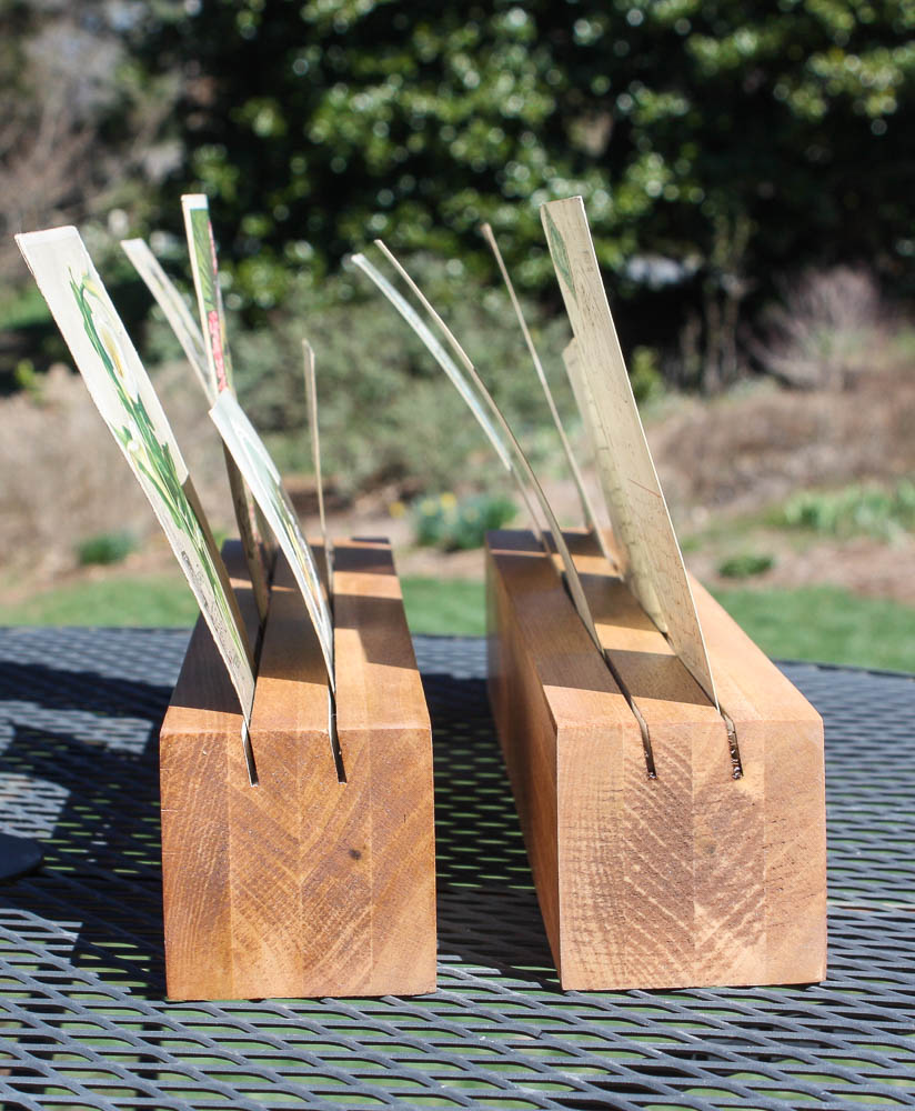 Wood blocks with slots to use to display greeting cards or postcards