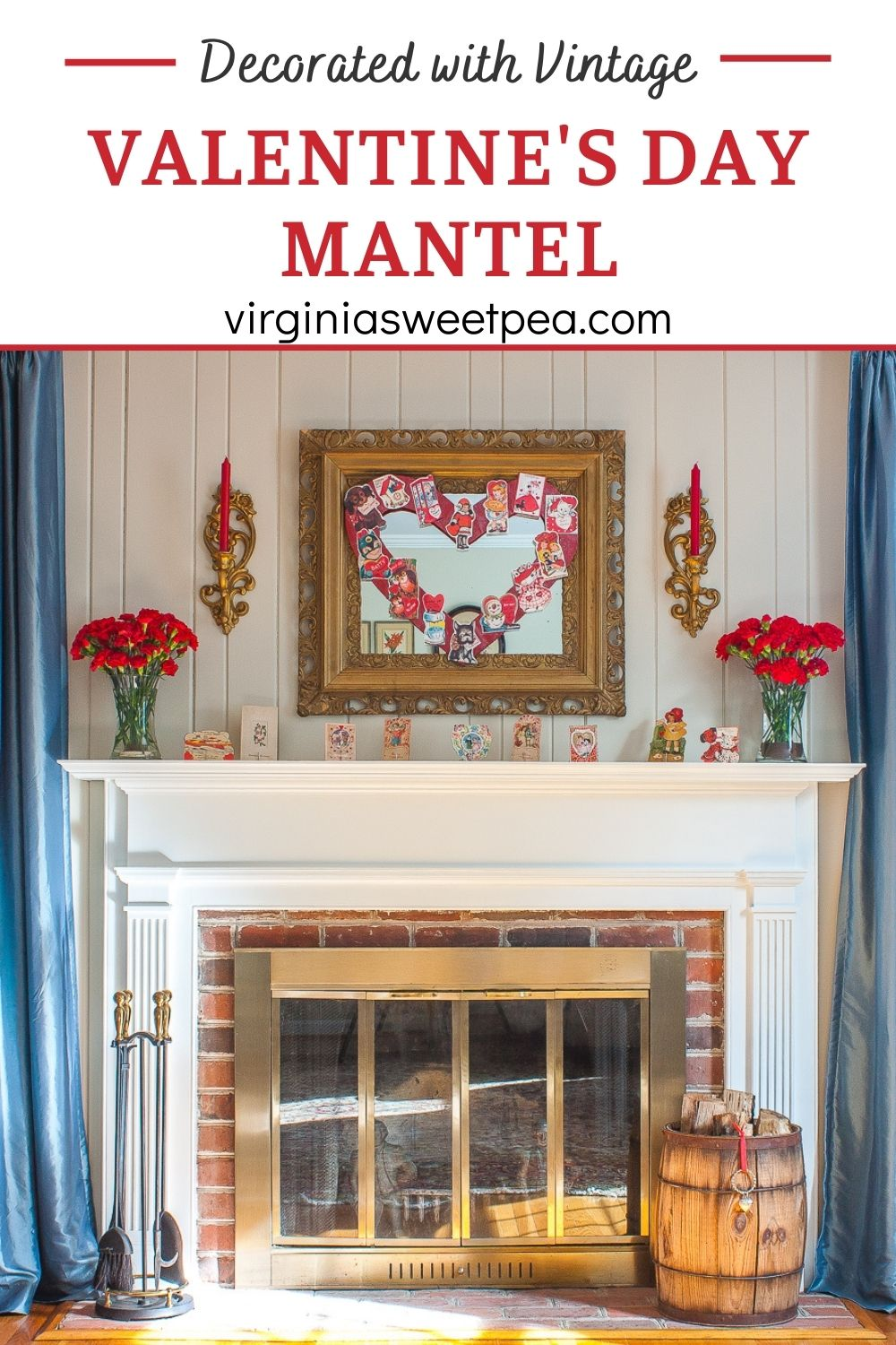 Decorated with Vintage Valentine's Day Mantel