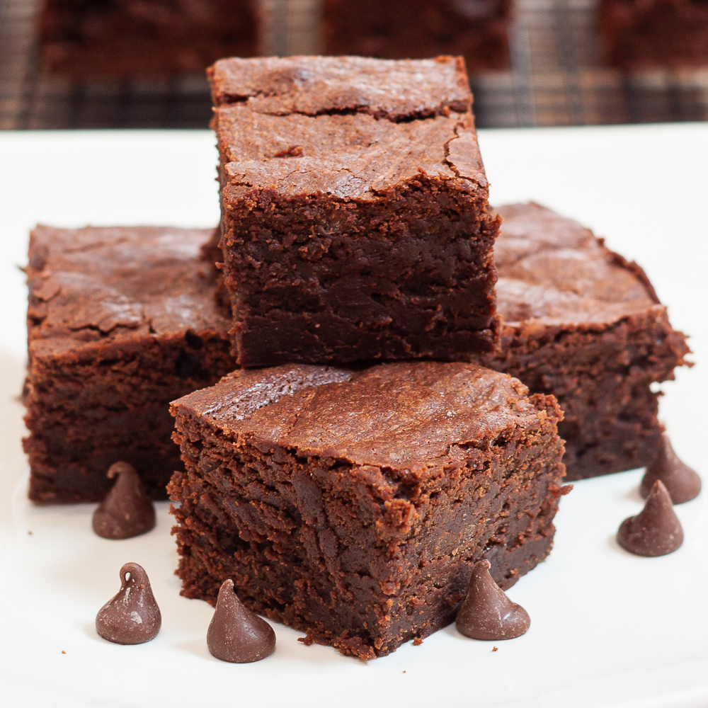 Triple chocolate homemade brownies on a plate