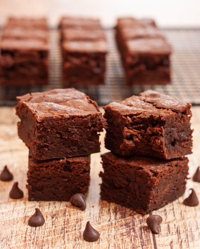 Brownies made with 3 kinds of chocolate