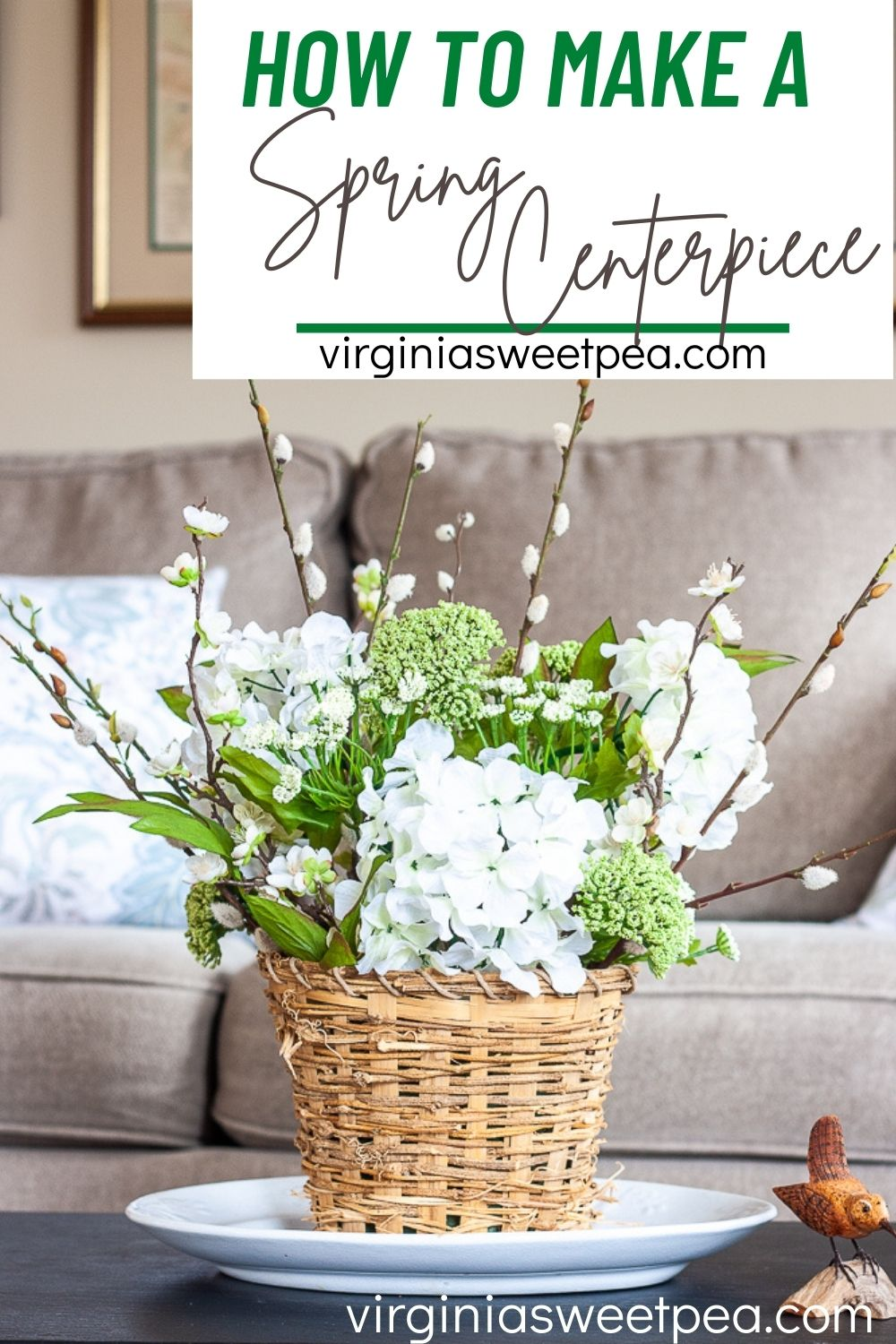 Learn how to make a spring centerpiece to use for spring decorating in your home.  This centerpiece can be used on a dining table, coffee table, console table, or any other spot in your home that needs a touch of spring.  Follow the step-by-step tutorial to create your own centerpiece to use for decorating your home for spring. via @spaula