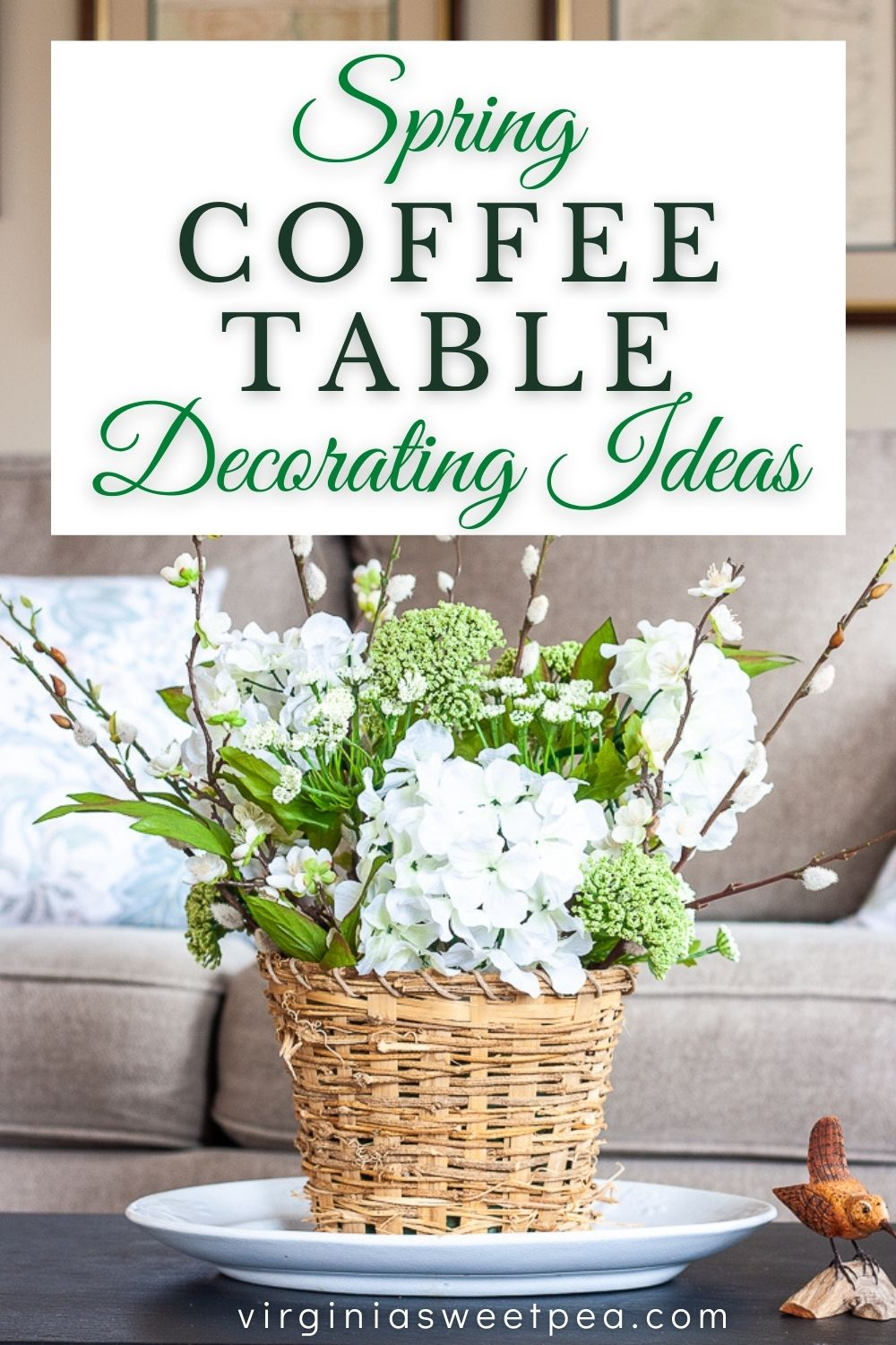 Get ideas for how to decorate your coffee table for spring.  Included are spring table centerpiece ideas and ideas for accessorizing a coffee table for spring.  via @spaula